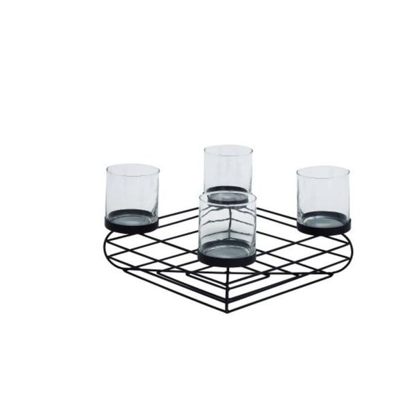 Benzara Black Metal Glass 12-inch Wide x 8-inch High Candle Holder