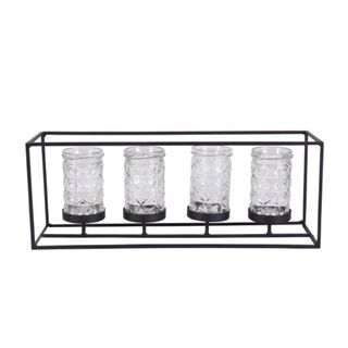 Clay Alder Home Mendota Benzara Rustic Reflections Black Metal and Glass 4-light Candle Holder