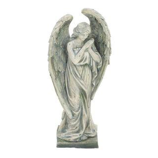 Benzara Grey Polystone Angel Figurine - Thumbnail 0
