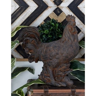 Benzara Brown Polystone 19-inch Wide x 19-inch High Rooster Planter