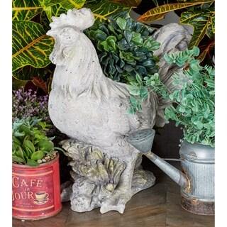 Benzara Grey Polystone Rooster Planter