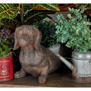 Benzara Brown Polystone 12 x 23 Dog Flower Pot
