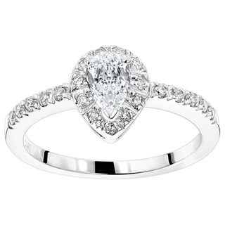 Luxurman 14k Gold 1/2ct TDW White Diamond Engagement Ring
