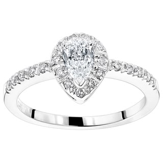 Luxurman 14k Gold 1/2ct TDW White Diamond Engagement Ring (H-I, SI1-SI2)