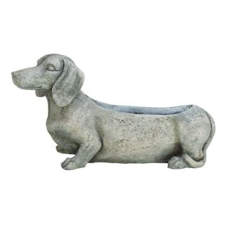 Benzara Off-white/Grey Polystone 23-inch x 8-inch Dog Flower Pot