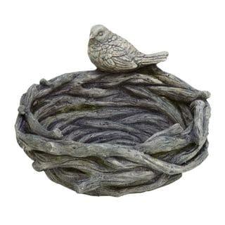 Natural Matte Brown Polystone Bird-on-nest Feeder Garden Accent