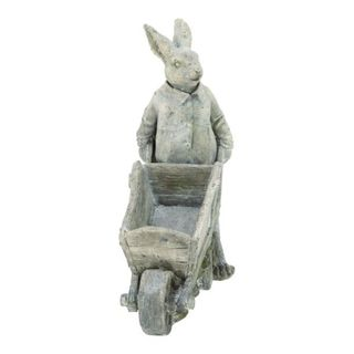 Benzara Grey Polystone Rabbit Figurine