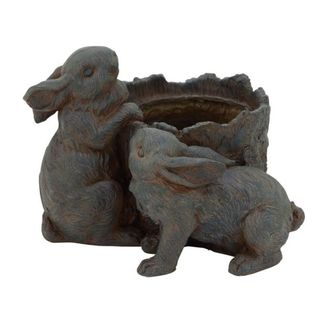 Benzara Brown Resin 13-inches Wide x 10-inches High Rabbit Pot