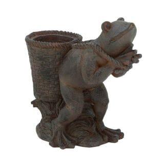 Benzara Brown Polystone 16-inch x 16-inch Frog Planter