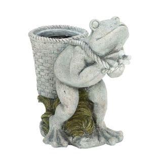 Benzara Grey Polystone Frog Planter