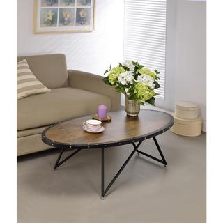Acme Furniture Allis Dark Oak and Metal Oval Coffee Table
