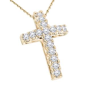 Luxurman 14k Gold 1 1/5ct TDW White Diamond Cross Pendant (G-H, SI1-SI2)