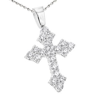 Luxurman 14k Gold 2 1/8ct TDW White Diamond Cross Pendant