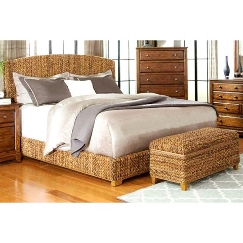 Modern Country Style Hand Woven Banana Leaf Bed with Storage Ottoman