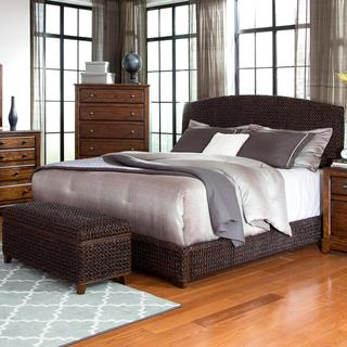 Modern Country Style Hand Woven Dark Brown Banana Leaf Bed With Storage Ottoman