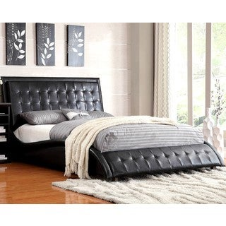 Modern Style Wave Design Black Upholstered Bed