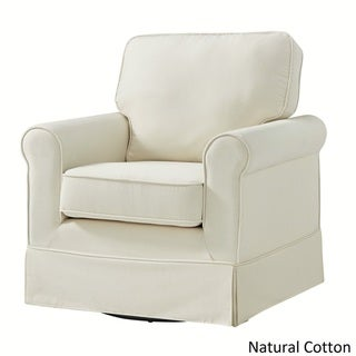 Fallon Rolled Arm Cotton Fabric Swivel Rocking Chair by TRIBECCA HOME