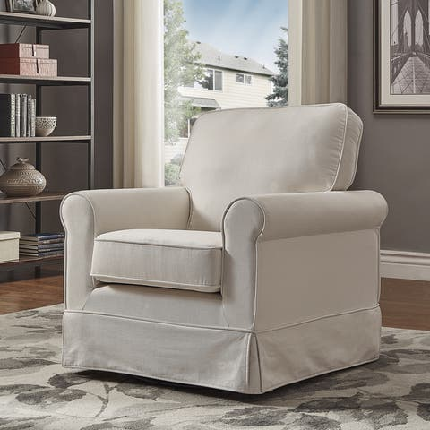 Fallon Rolled Arm Cotton Fabric Swivel Chair by iNSPIRE Q Classic