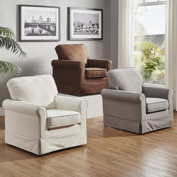 Fallon Rolled Arm Cotton Fabric Swivel Chair by iNSPIRE Q Classic. Opens flyout.