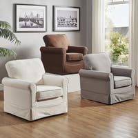 The Gray Barn Alroy Downs Rolled Arm Cotton Swivel Rocking Chair