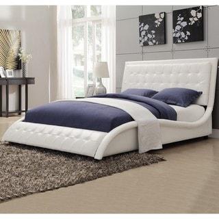 Modern Style Wave Design White Upholstered Bed