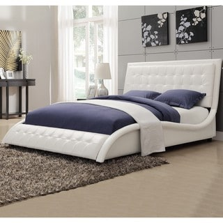 Modern Style Wave Design White Upholstered Bed