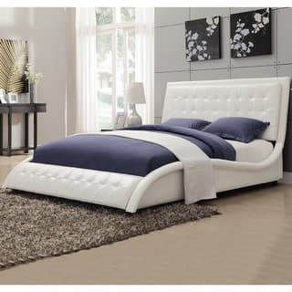 white modern bedroom furniture. Modern Style Wave Design White Upholstered Bed Bedroom Sets For Less  Overstock com