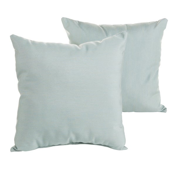 Sunbrella Canvas Spa Blue Indoor/ Outdoor Square Knife Edge Pillow Set