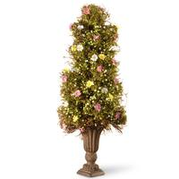 National Tree Company Spring Flower Green, Pink, and Yellow 24-inch Topiary Tree