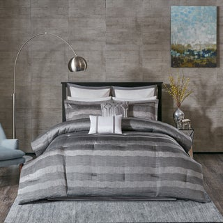 Madison Park Colton Grey Jacquard 8-Piece Comforter Set