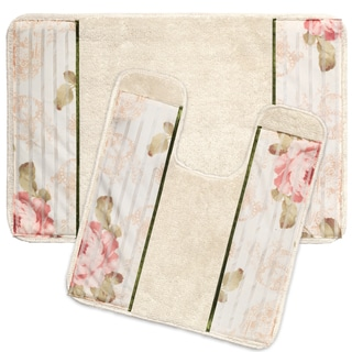 Rose Print Beige Bathroom Rug and Contour Rug Set
