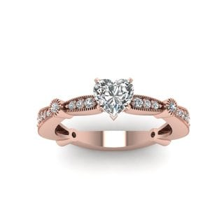 14k Rose Gold 1ct TDW Heart-cut Diamond Milgrain Engagement Ring (H-I, I1, I2)