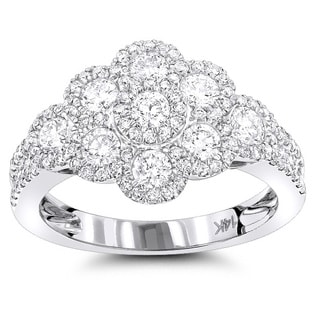 Luxurman 14k White Gold 1 3/8ct TDW White Diamond Flower Ring