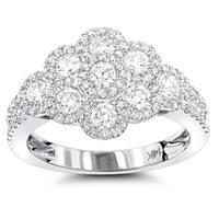 Luxurman 14k White Gold 1 3/8ct TDW White Diamond Flower Ring