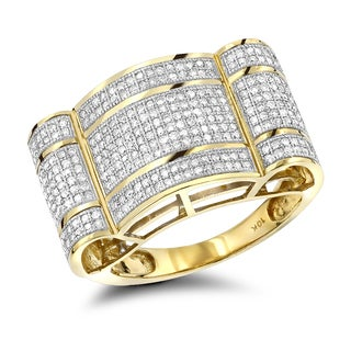 Luxurman Two-tone 10k Gold Men's 1ct TDW Diamond Ring