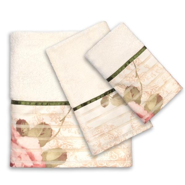 Rose Print Beige 3-Piece Bath Towel Set