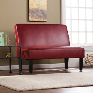 Harper Blvd Brookdale Faux Leather Settee Bench - Roman Red