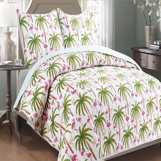 Panama Jack Flamingo 3-piece Quilt Set