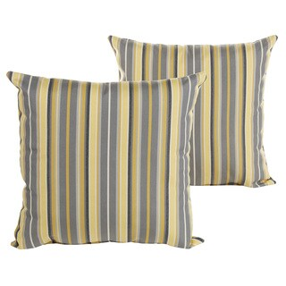 Sunbrella Grey and Yellow Striped Indoor/ Outdoor Square Knife Edge Pillow Set