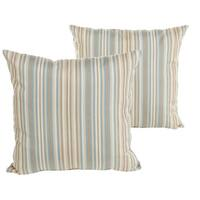 Sunbrella Blue and Gold Striped Indoor/ Outdoor Square Knife Edge Pillow Set