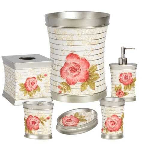 Pink Floral Bath Accessory Set or Separates