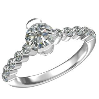 Sterling Silver Cubic Zirconia Half Bezel Set Engagement Ring