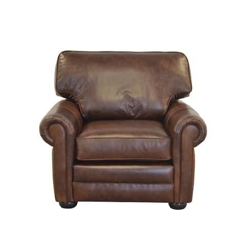 Fenway Studio Genuine Top Grain Leather Extra Deep Armchair