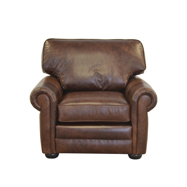 Fenway Studio Genuine Top Grain Leather Extra Deep Armchair