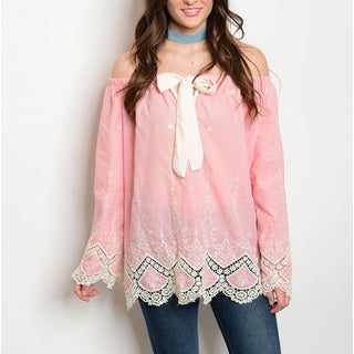 JED Women's Pink and Cream Cotton Long-sleeve Off-shoulder Crochet Detail Bow-front Top