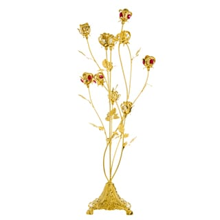 Matashi 24k Goldplated Crystal Studded 10-piece Rose Bouquet Ornament