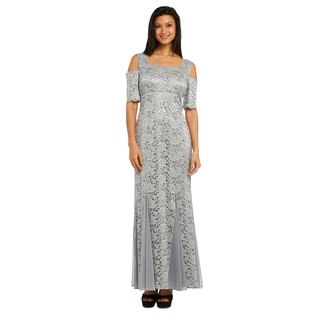 R M Richards Silver Nylon/Spandex/Polyester Lace Gown
