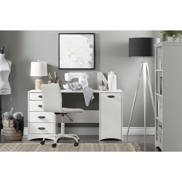 shop south shore artwork sewing machine craft table with storage free shipping today. Black Bedroom Furniture Sets. Home Design Ideas
