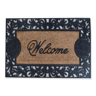 First Impression Black/Brown Rubber and Coir 'Welcome' Doormat