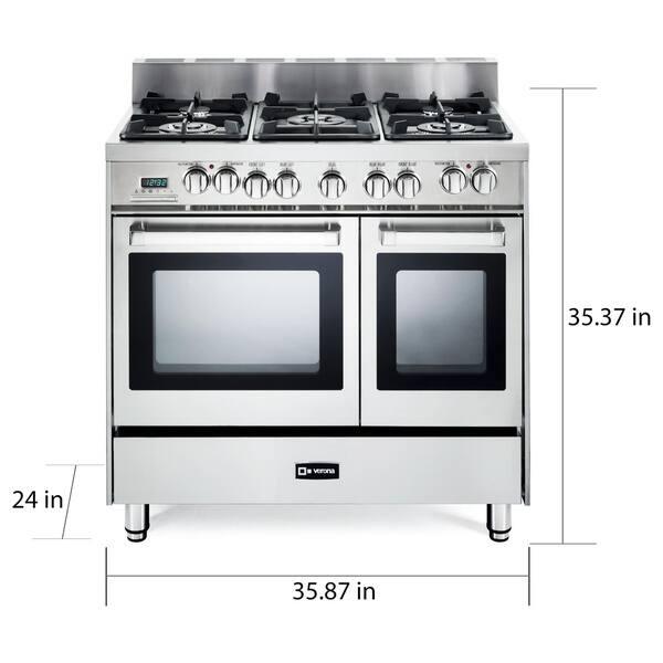 Verona 36 Inch Pro Style Dual Fuel Double Oven Range